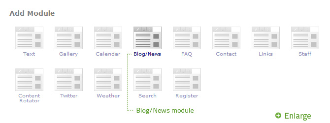 Select Blog/News from the Add Module popup.