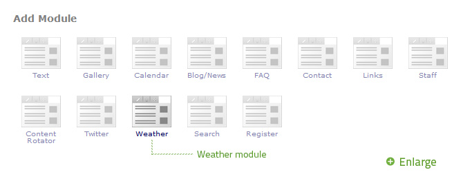 Select Weather from the Add Module popup.