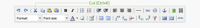 Cut is the third button from the left on the top row of the editor. Text must be highlighted before it can be cut. This button does not work on all browsers, use Ctrl+X or Cmd+X instead.