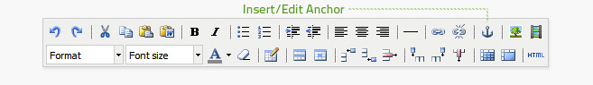 Insert/edit anchor is the third button from the right on the top row of the editor. The anchor will be inserted at the beginning of the paragraph selected when the button is clicked.