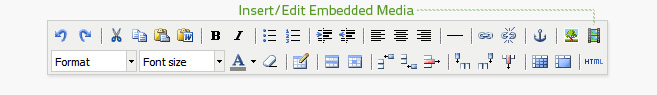 Insert/edit embedded media is the first button from the right on the top row of the editor.