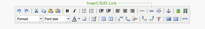 Insert/edit link is the fifth button from the right on the top row of the editor. Text must be highlighted or an image must be selected before it can be linked.